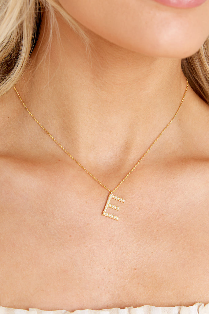 1 My Love Initial E Pearl And Gold Necklace at reddress.com