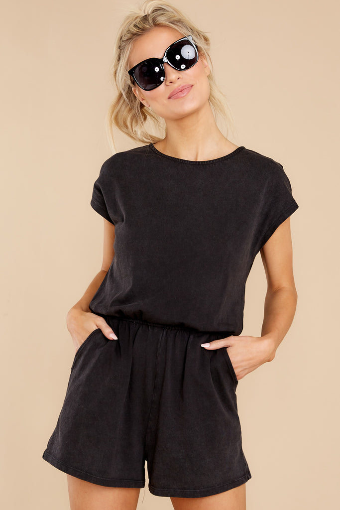 1 Sky Jersey Black Romper at reddress.com