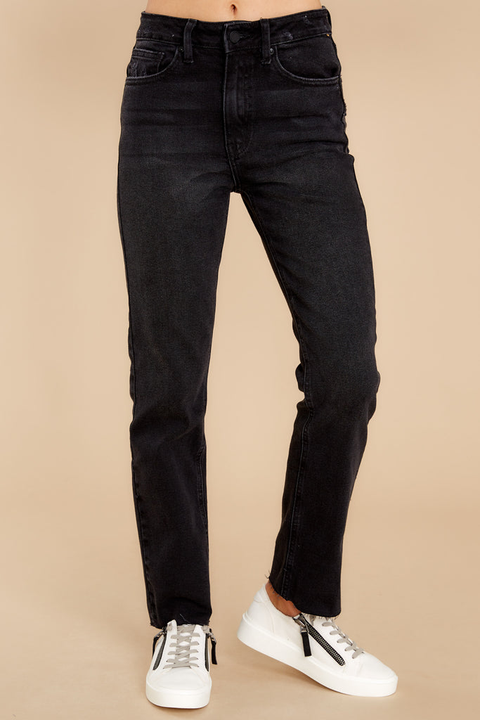 High Standards Washed Black Distressed Straight Jeans 1 at reddress.com