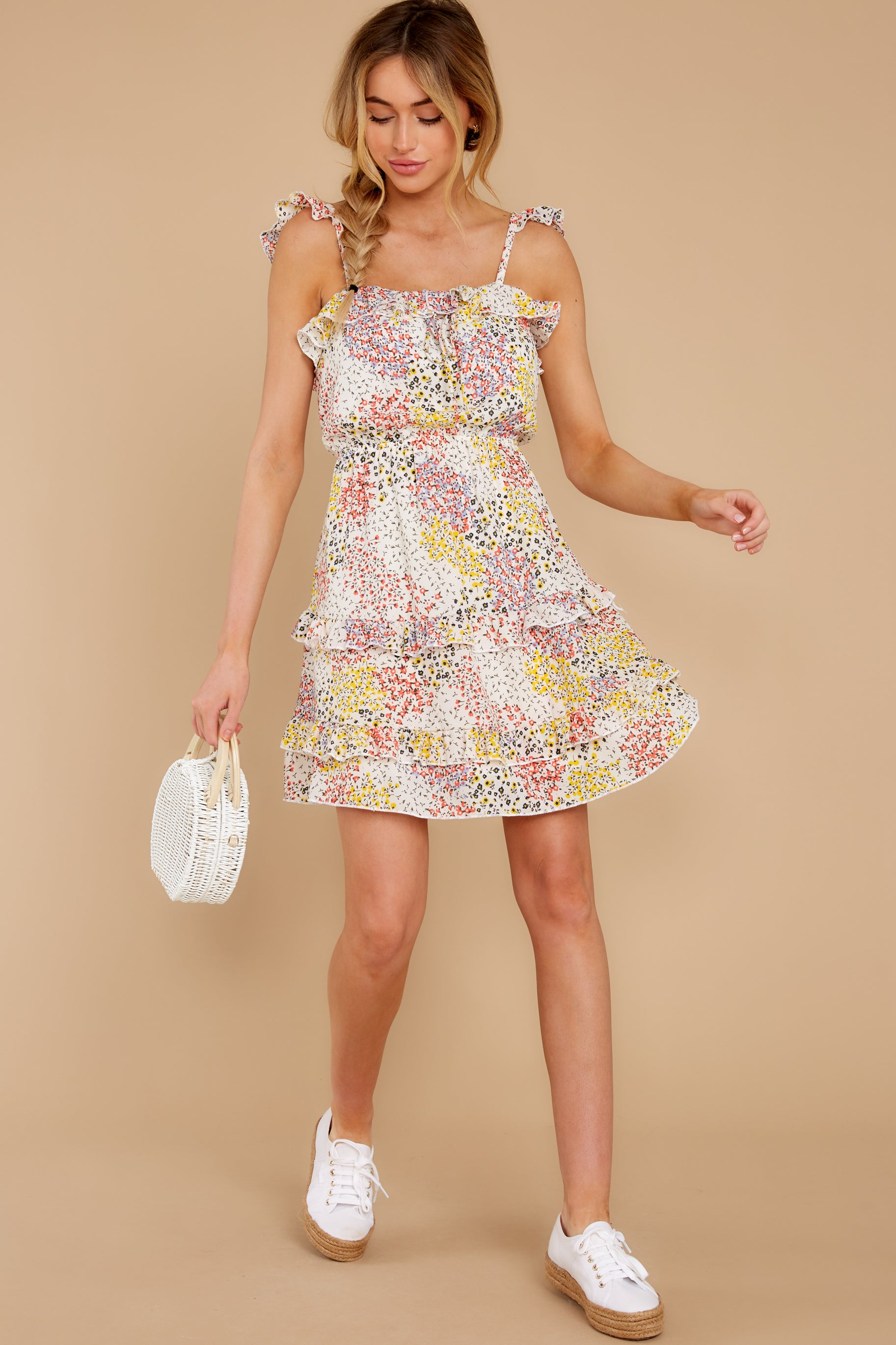 2 Picking Wildflowers White Floral Print Dress at reddress.com