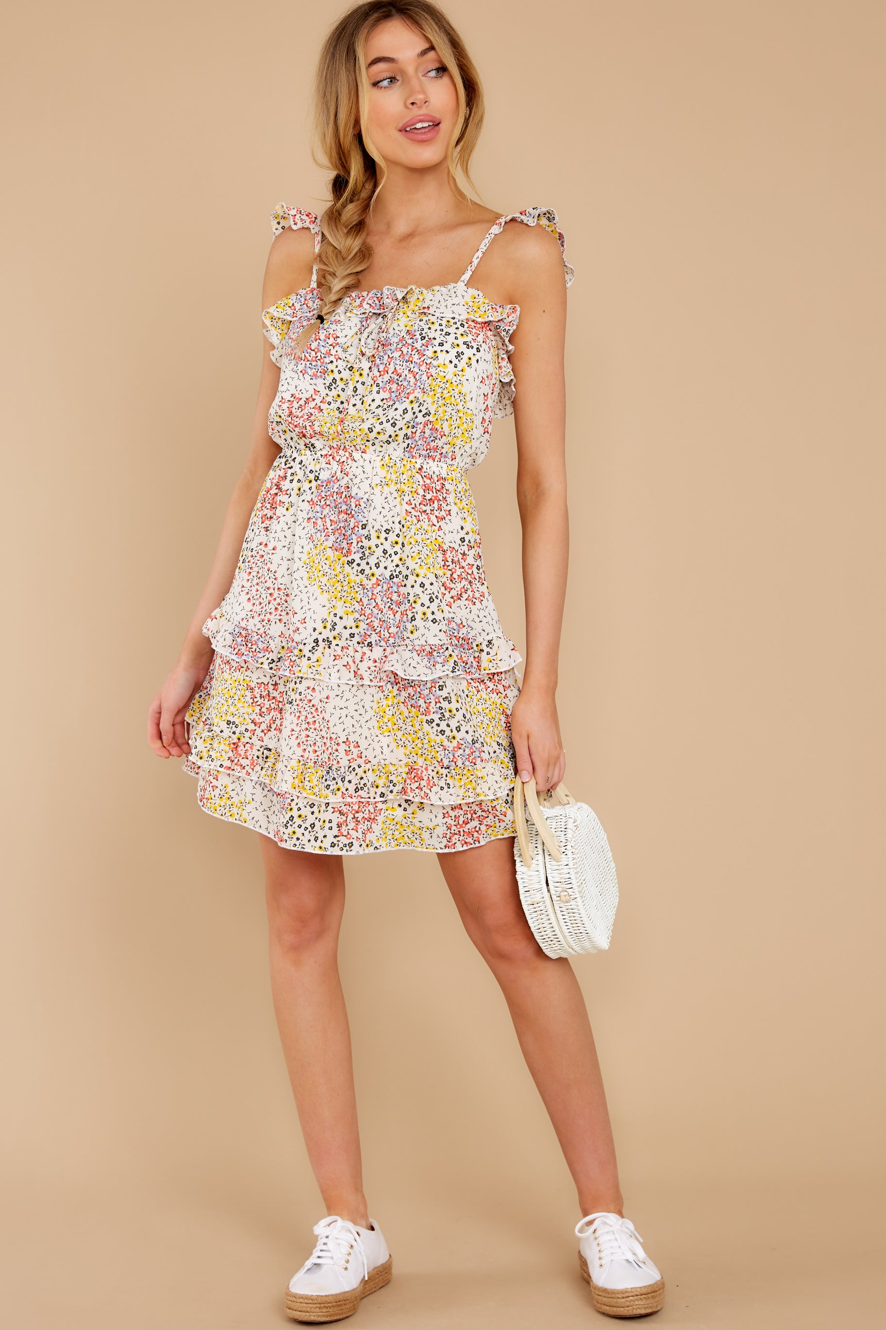 4 Picking Wildflowers White Floral Print Dress at reddress.com