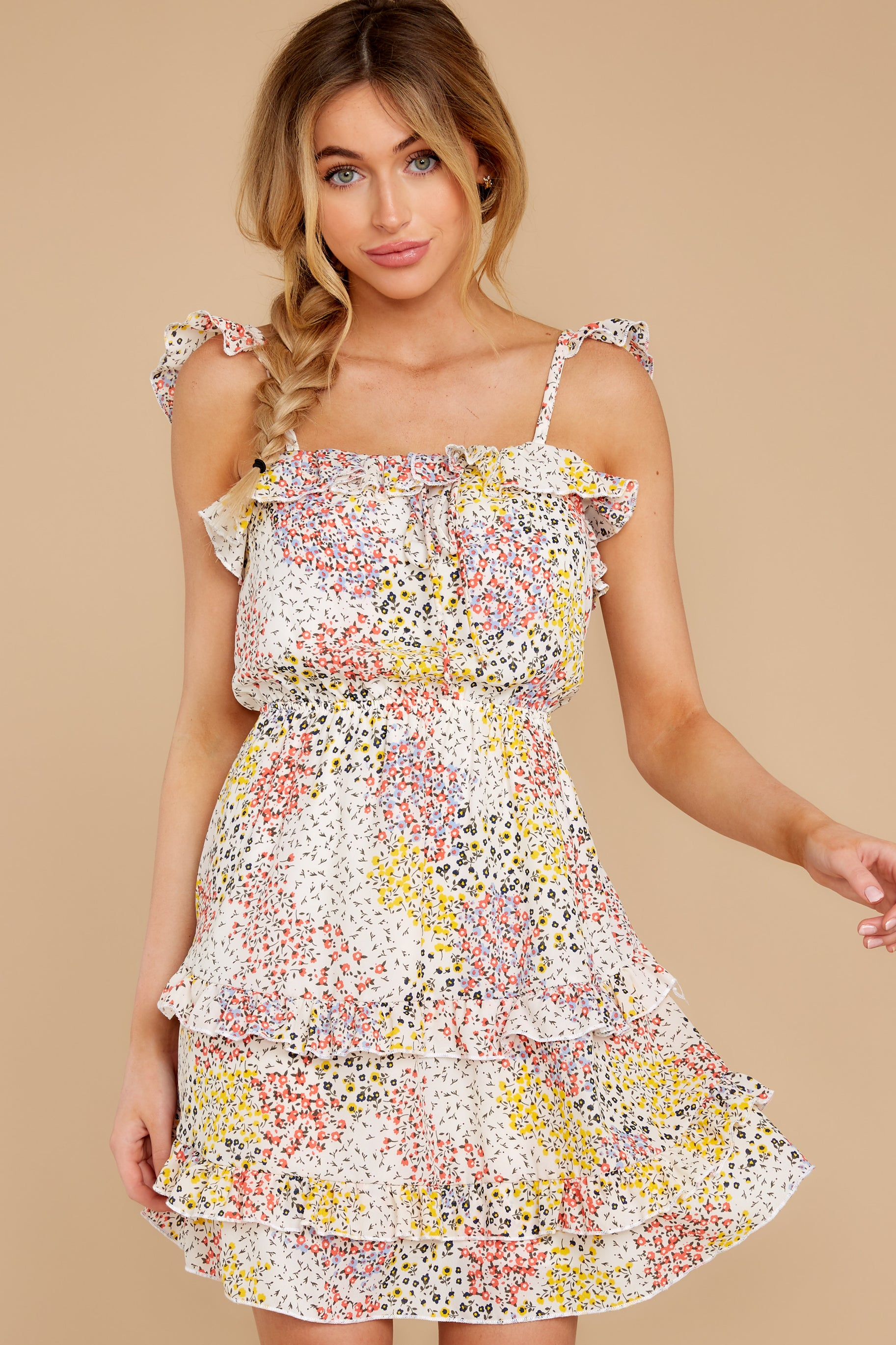 1 Picking Wildflowers White Floral Print Dress at reddress.com
