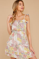 5 Picking Wildflowers White Floral Print Dress at reddress.com
