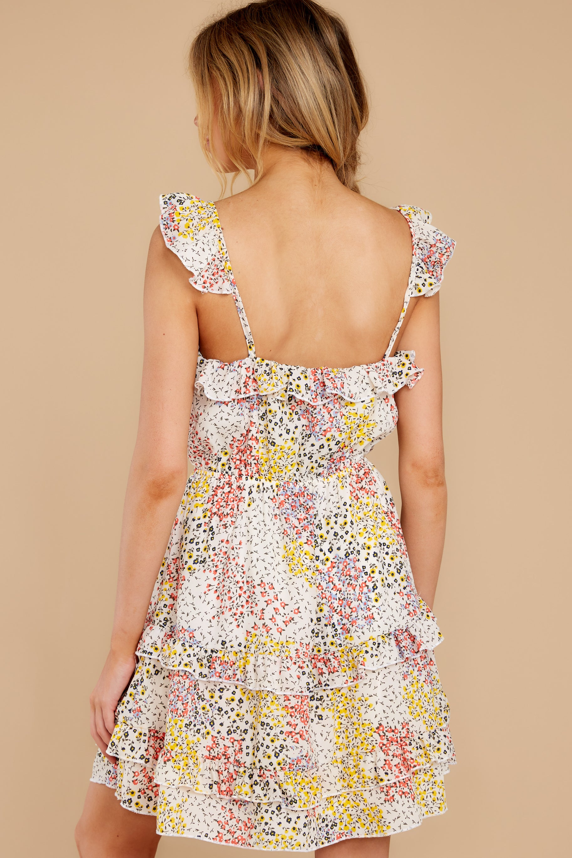 8 Picking Wildflowers White Floral Print Dress at reddress.com