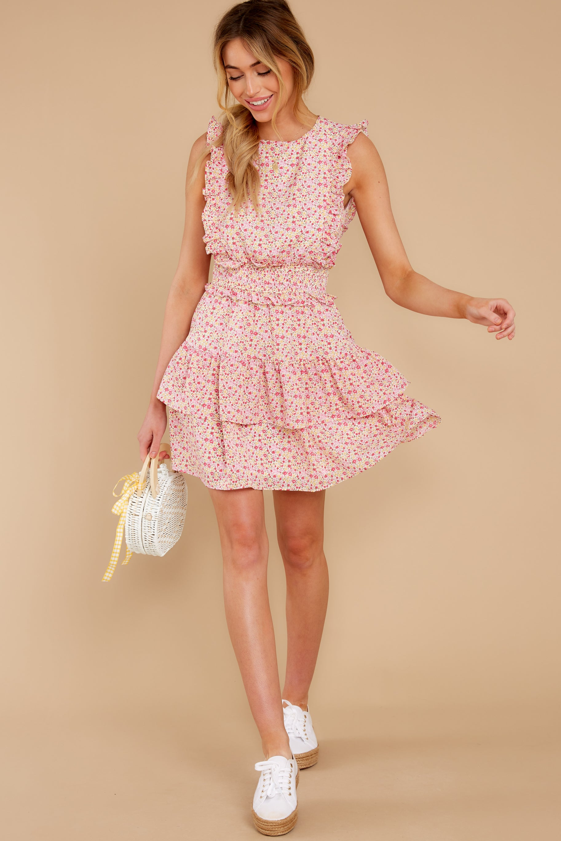 3 Spin Me Baby Pink Multi Floral Print Dress at reddress.com