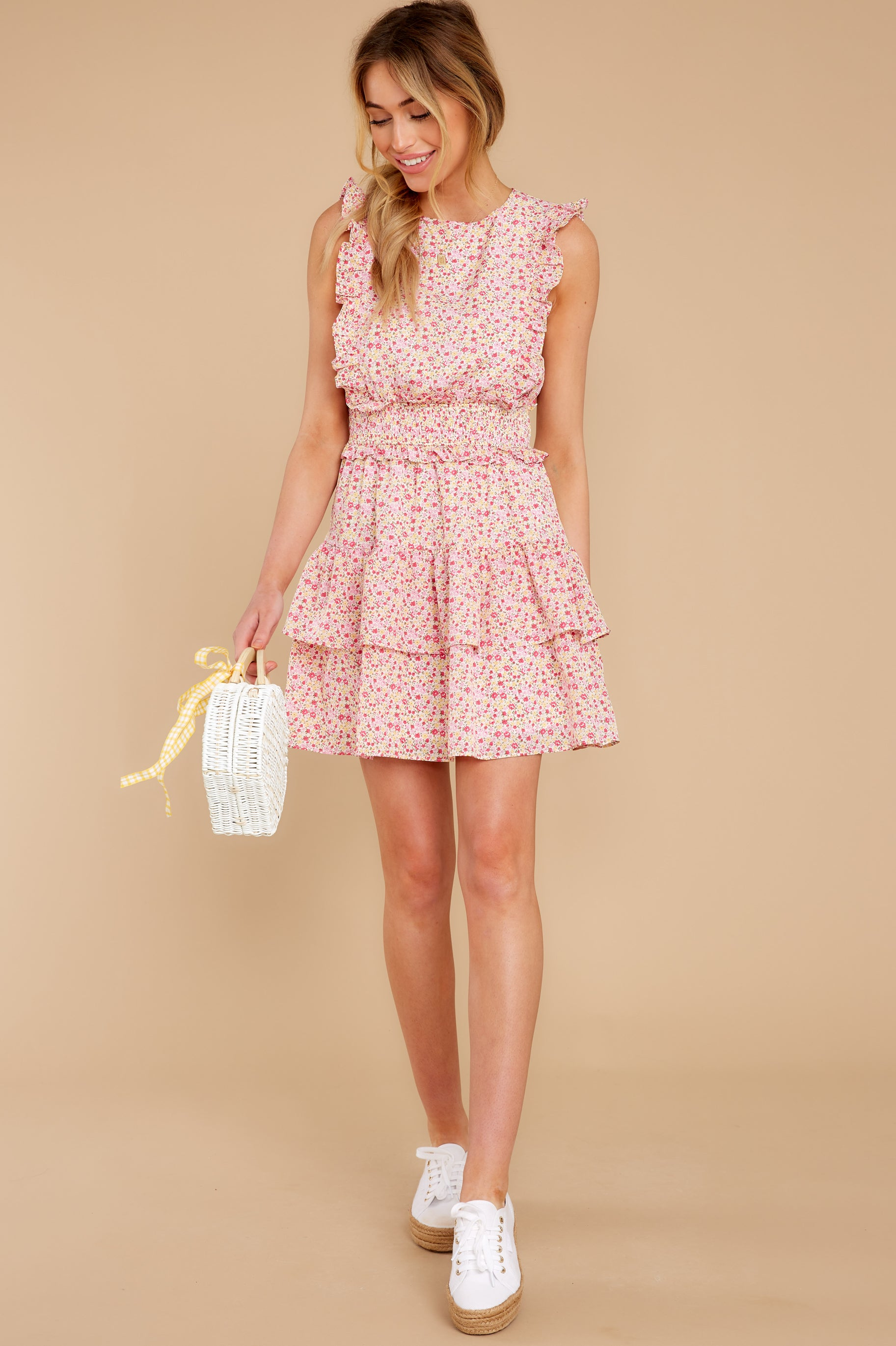 4 Spin Me Baby Pink Multi Floral Print Dress at reddress.com