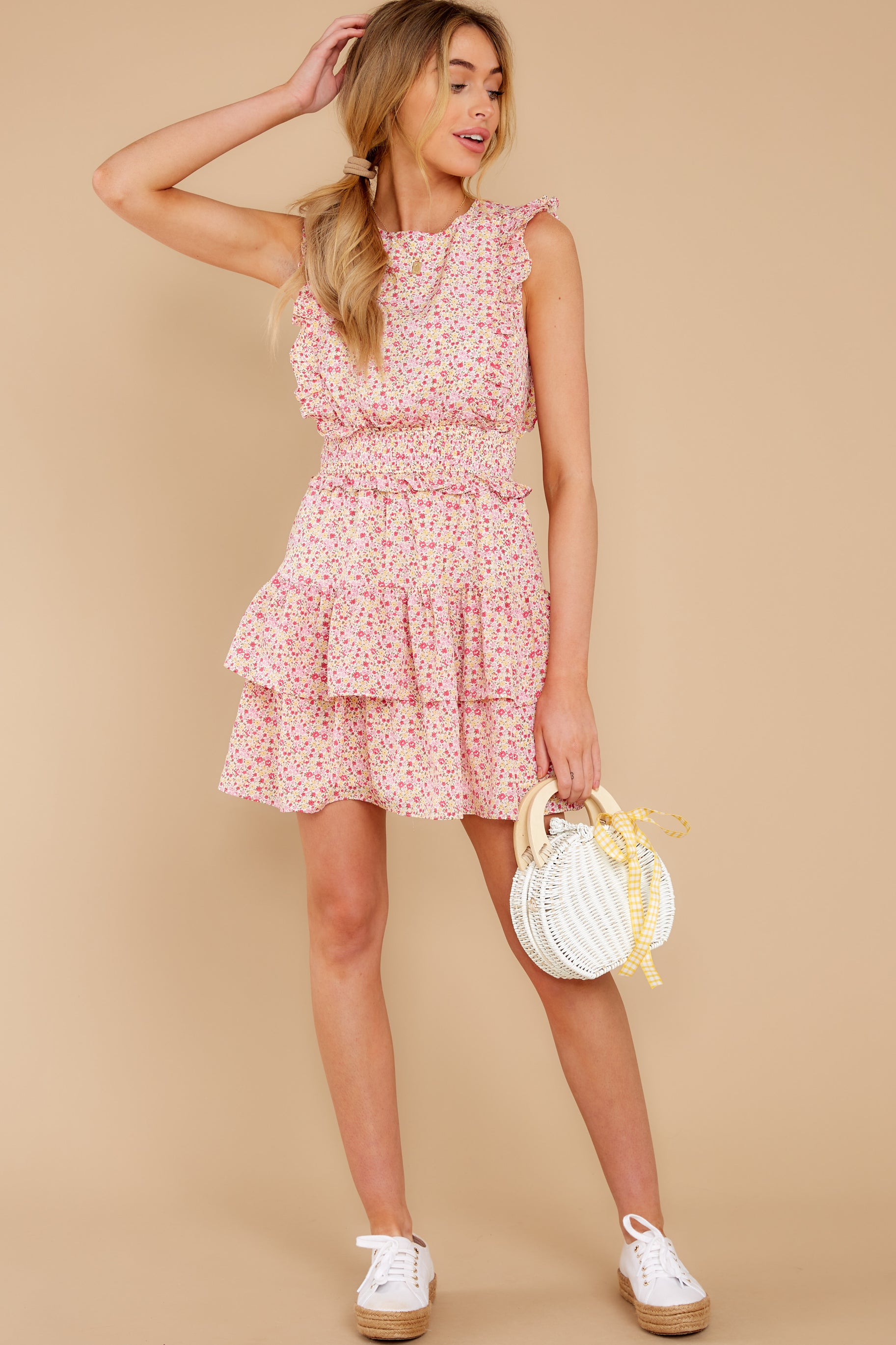 2 Spin Me Baby Pink Multi Floral Print Dress at reddress.com