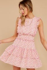 5 Spin Me Baby Pink Multi Floral Print Dress at reddress.com