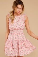 6 Spin Me Baby Pink Multi Floral Print Dress at reddress.com