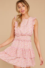 1 Spin Me Baby Pink Multi Floral Print Dress at reddress.com