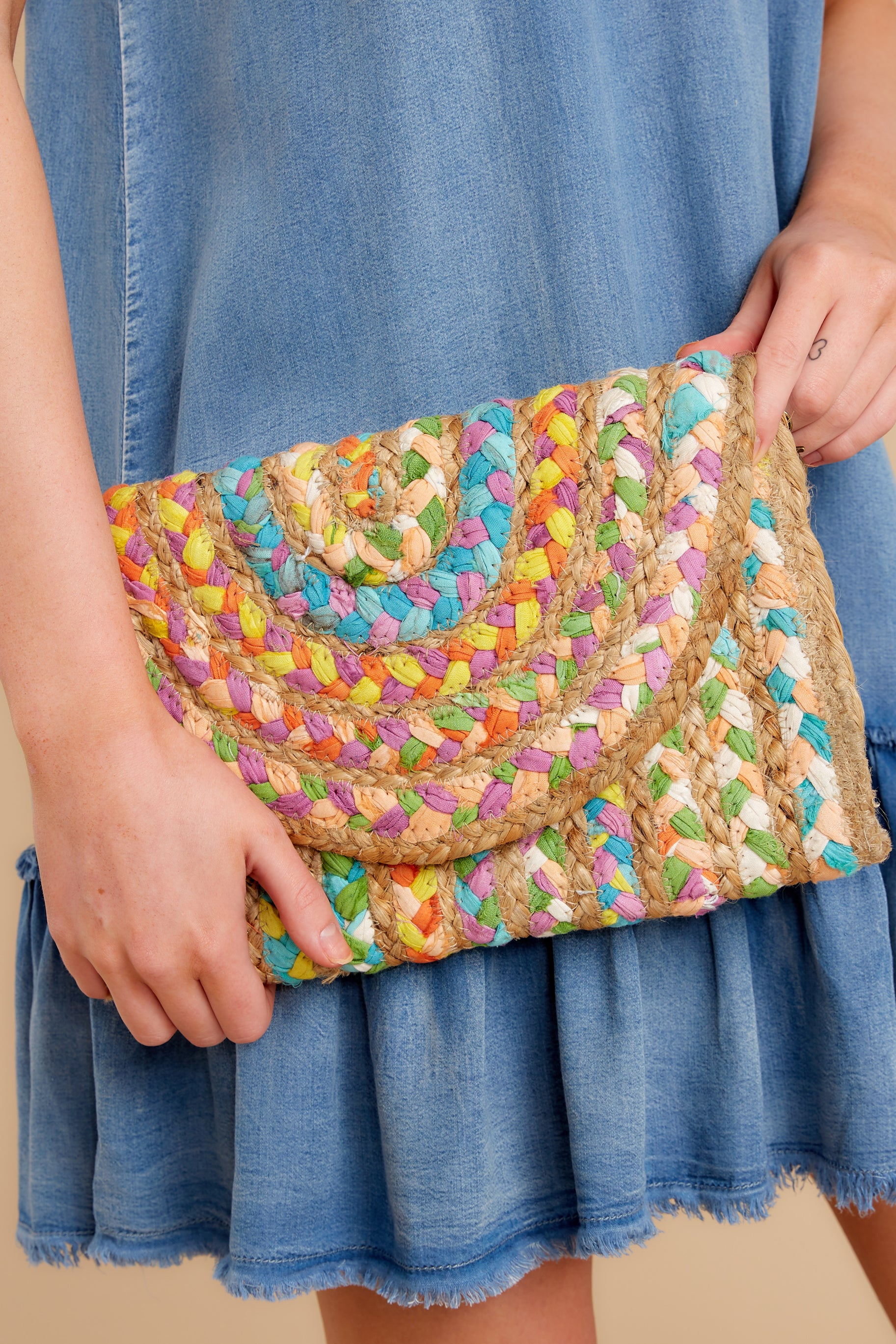 Perfect Pick Yellow And Purple Multi Clutch