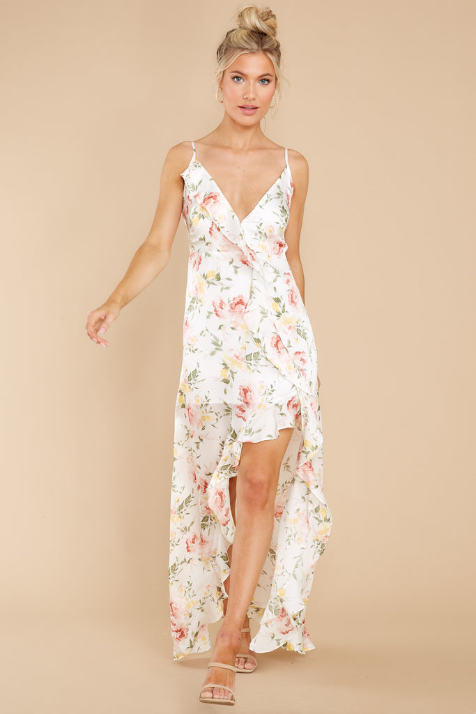 1 Garden Blooms White Floral Print High Low Dress at reddress.com