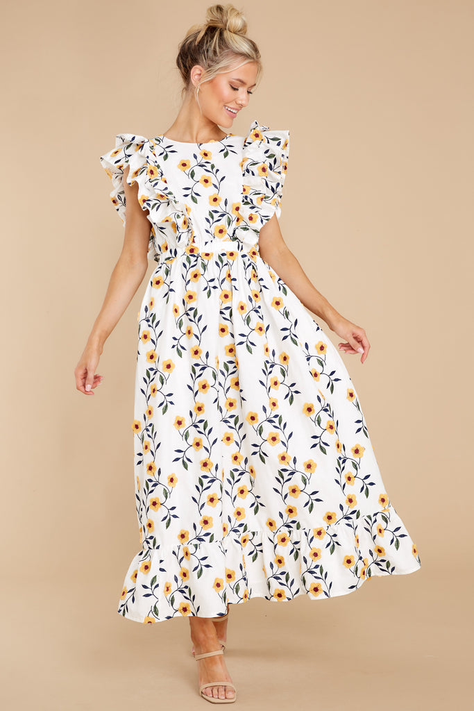 1 Bring Me Through The Garden White Floral Print Maxi Dress at reddress.com