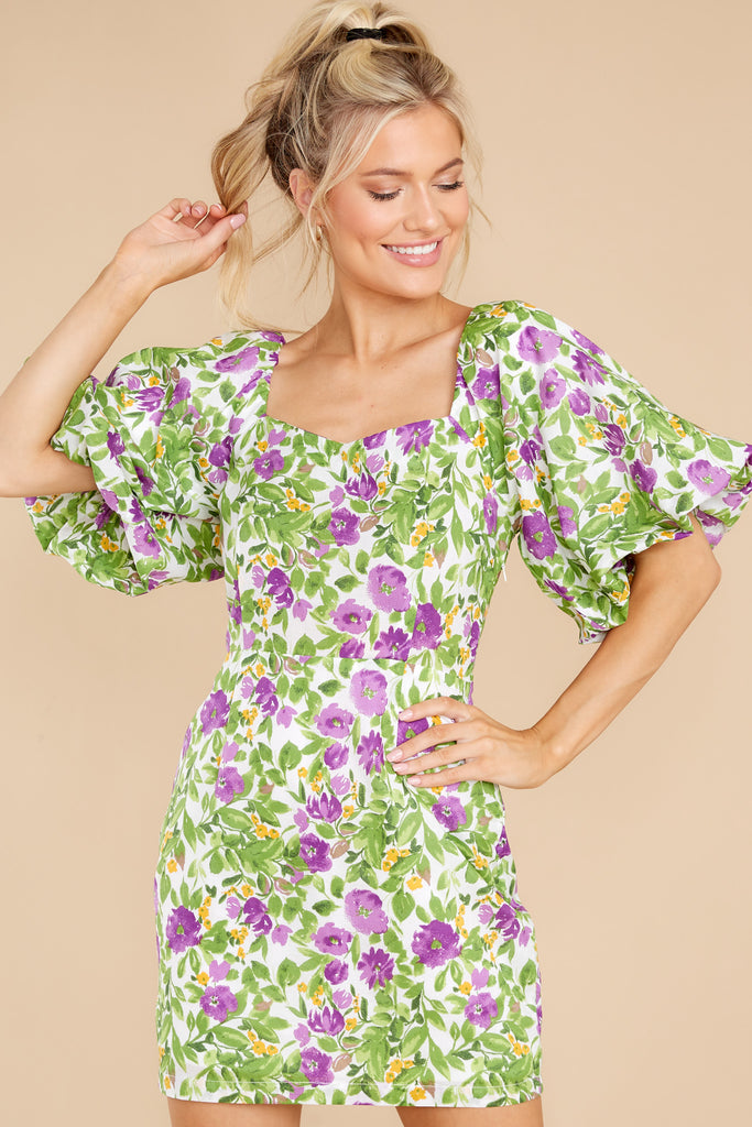 Wonderful Beginnings Purple Multi Floral Print Dress