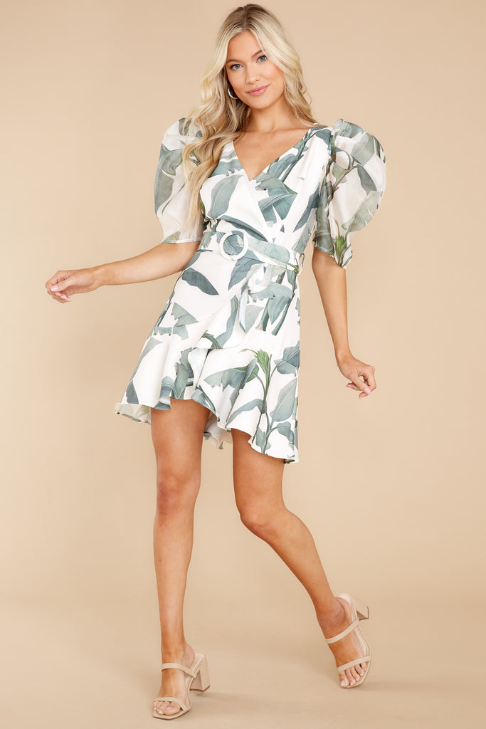 1 Dancing Under The Palms White And Sage Leaf Print Dress at reddress.com