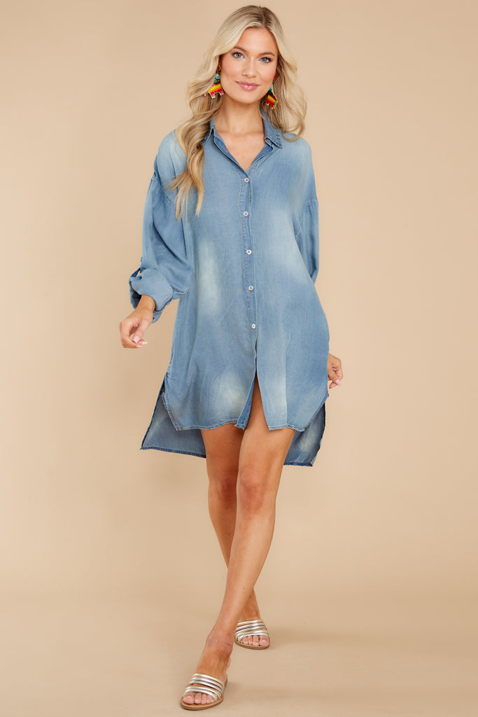 1 Casual Greetings Medium Wash Chambray Dress at reddress.com