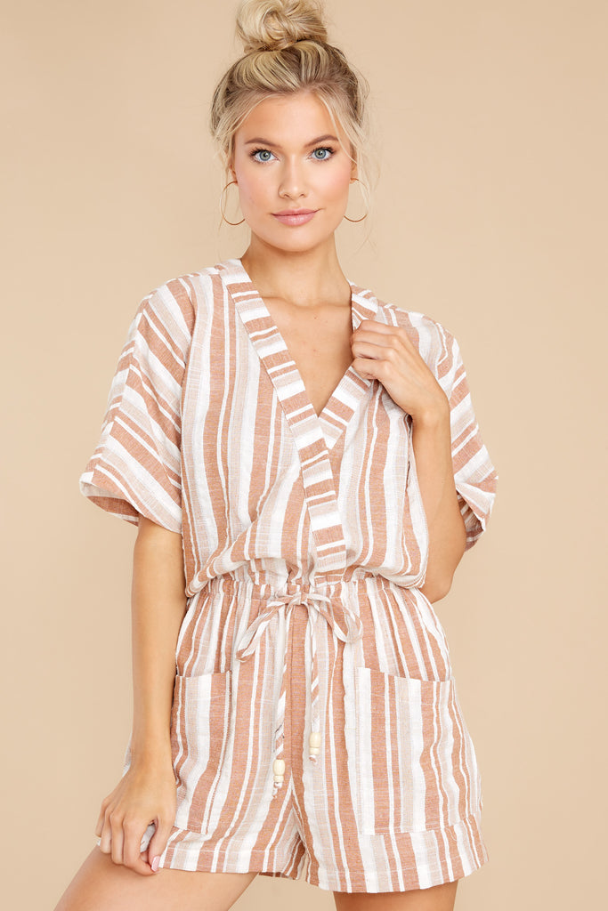 1 On River Street Taupe Multi Stripe Romper at reddress.com