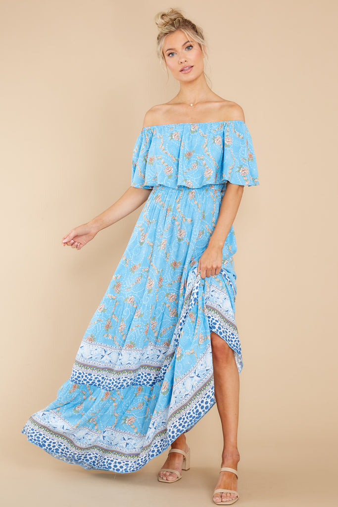 1 Carried Away Blue Floral Print Maxi Dress at reddress.com
