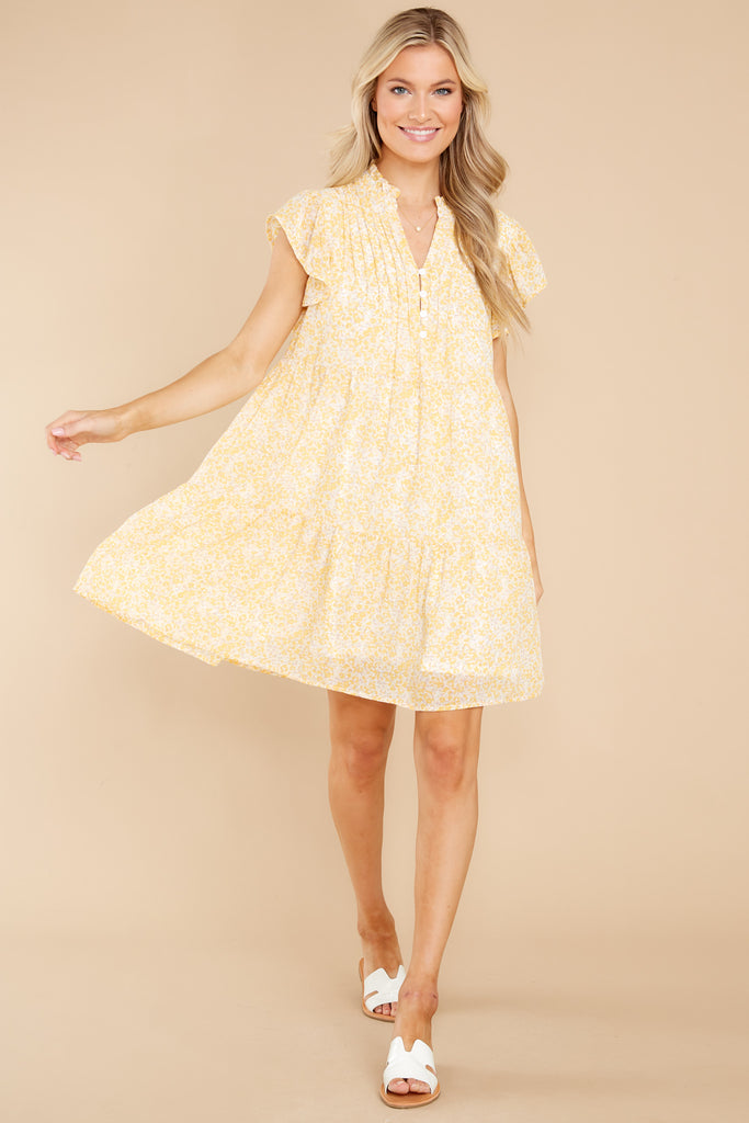 1 Catch The Rain Yellow Floral Print Dress at reddress.com