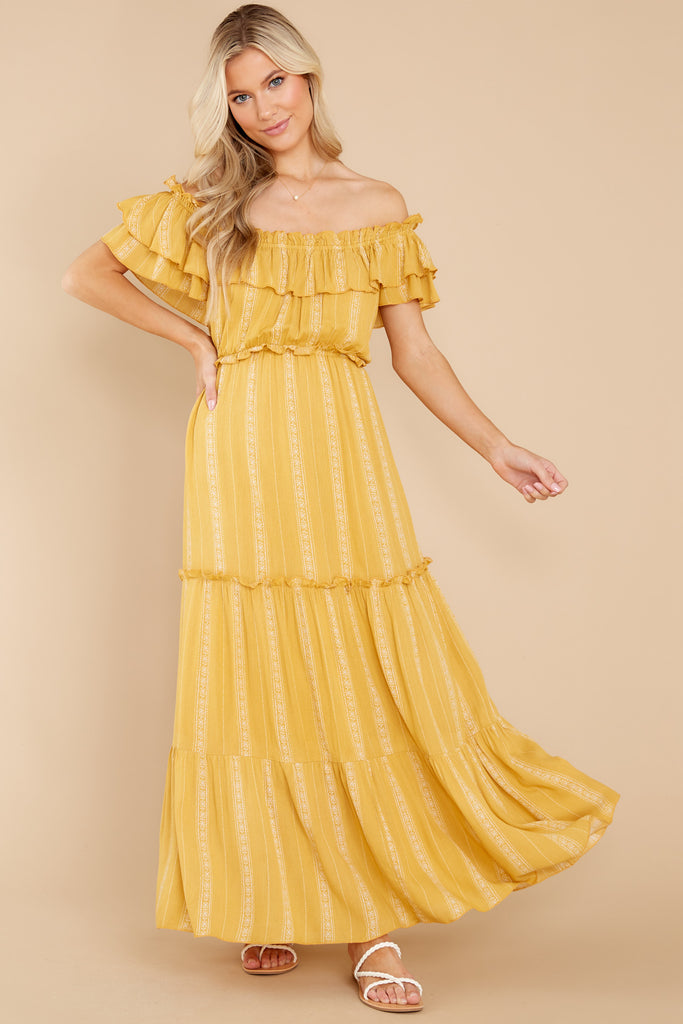 When You Land Mustard Yellow Print Maxi Dress 1 at reddress.com
