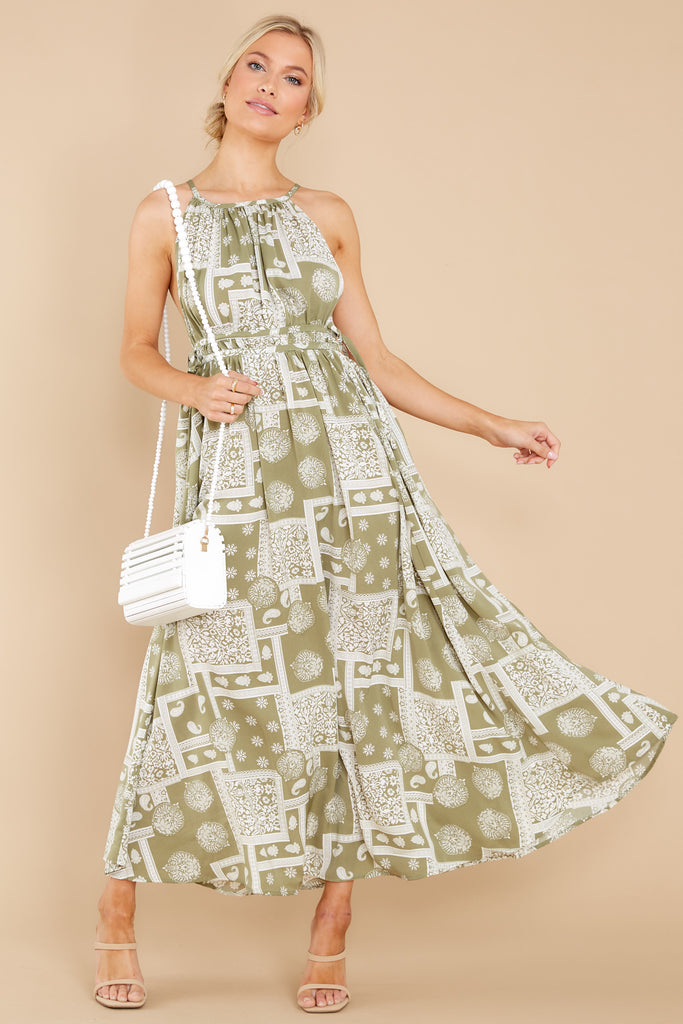1 Sweet Times Sage Green Print Maxi Dress at reddress.com
