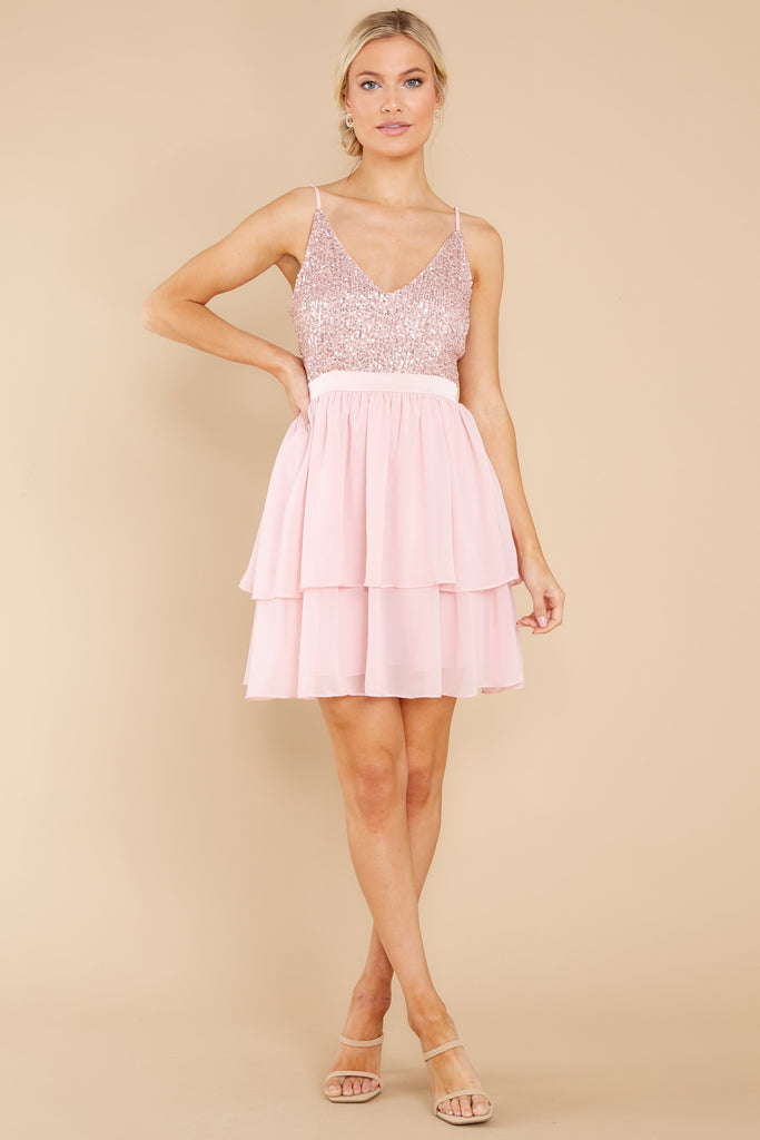 1 Brightest Babe Blush Pink Sequin Dress at reddress.com