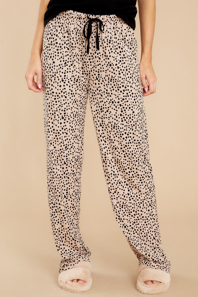 1 Purrfect Dream Tan Print Pajama Pants at reddress.com