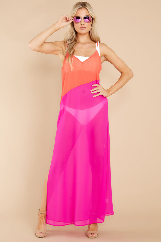 Resort Vibes Coral And Magenta Cover Up Dress 1 at reddress.com