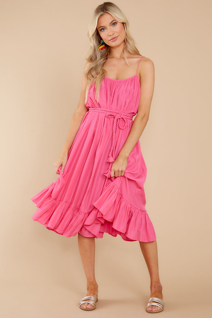 1 Pure Feeling Fuchsia Pink Midi Dress at reddress.com