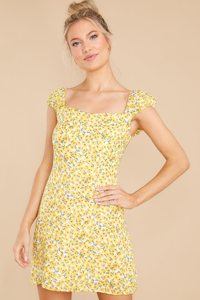 1 Just Add Sunshine Yellow Floral Print Dress at reddress.com
