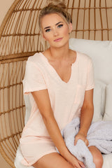 3 Your Best Shot Peach Slub T-Shirt Dress at reddress.com
