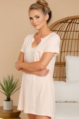 4 Your Best Shot Peach Slub T-Shirt Dress at reddress.com