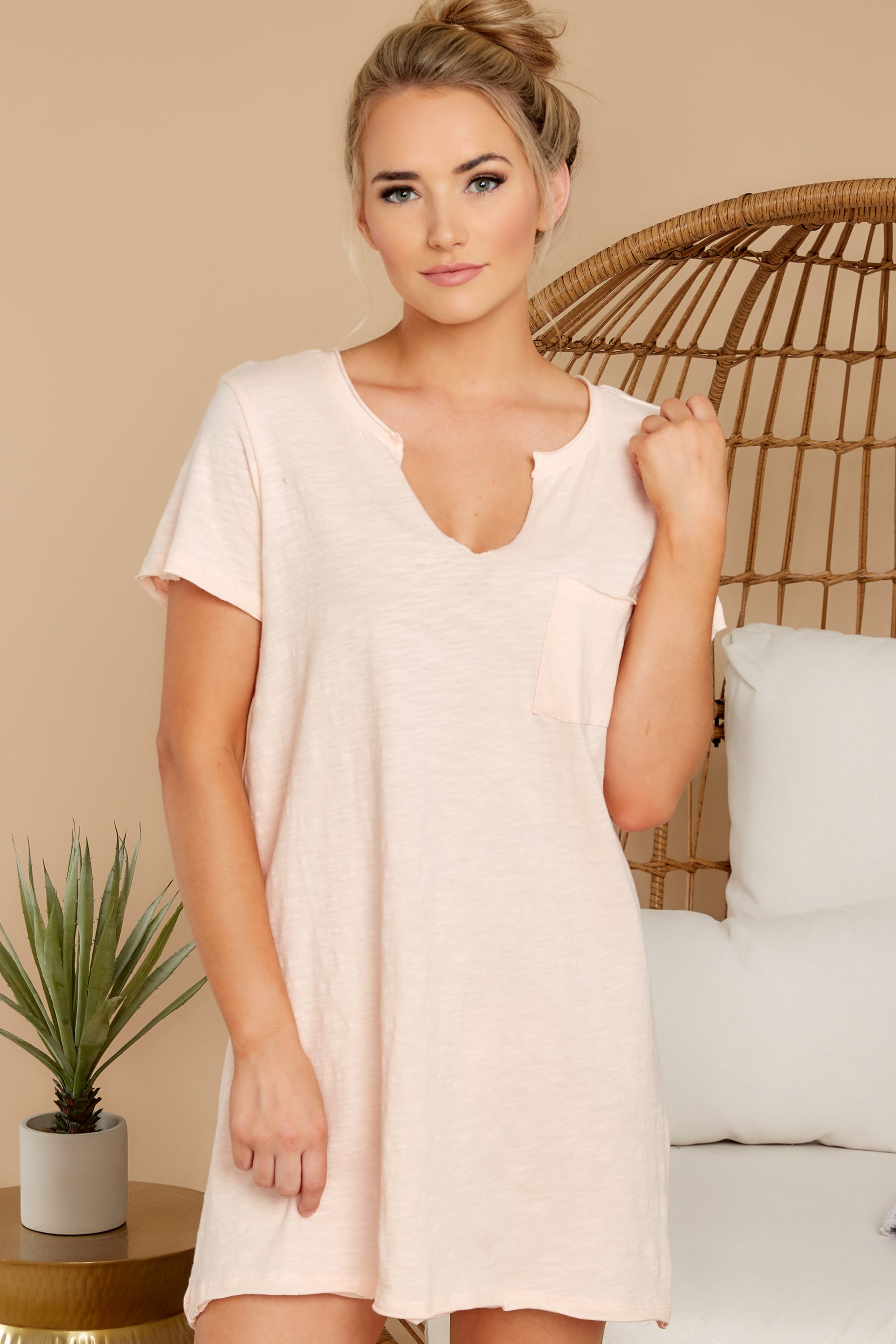 5 Your Best Shot Peach Slub T-Shirt Dress at reddress.com