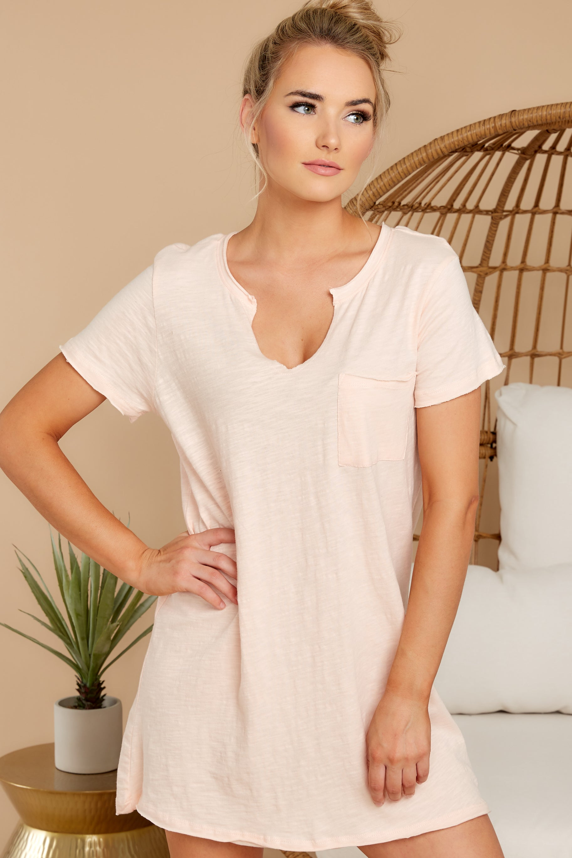 6 Your Best Shot Peach Slub T-Shirt Dress at reddress.com