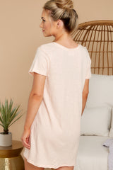 7 Your Best Shot Peach Slub T-Shirt Dress at reddress.com