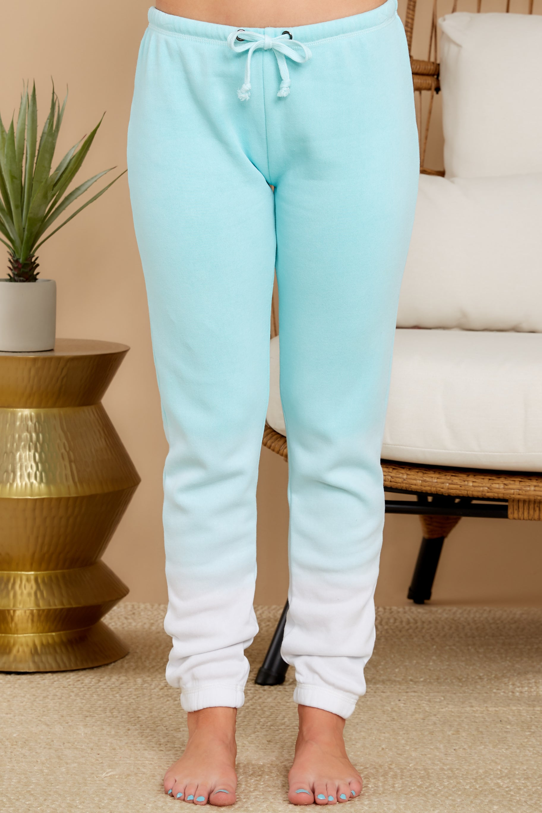 2 Feels Like Heaven Atlantis Blue Ombre Joggers at reddress.com