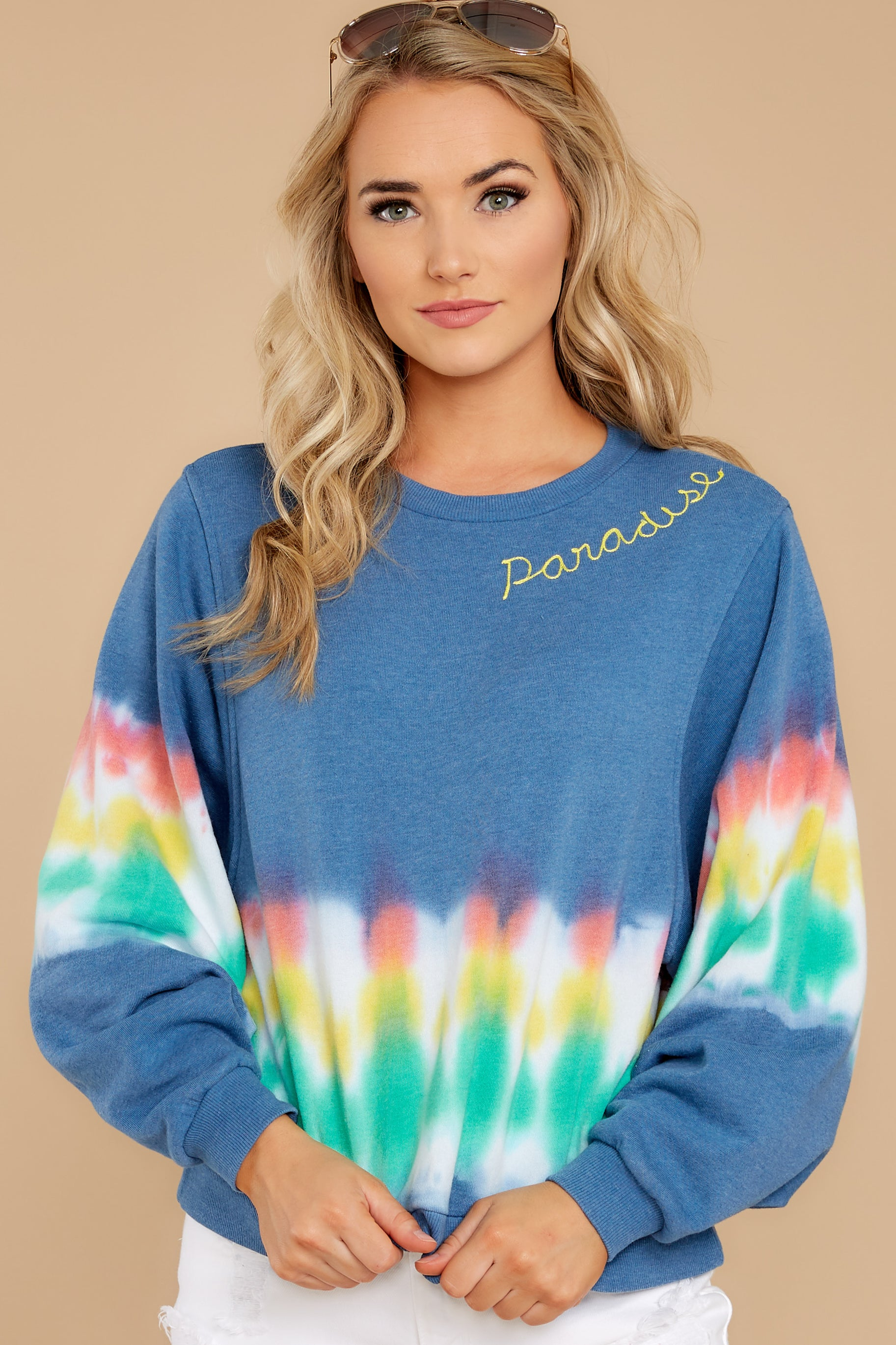 Everyday In Paradise Chambray Blue Sweatshirt