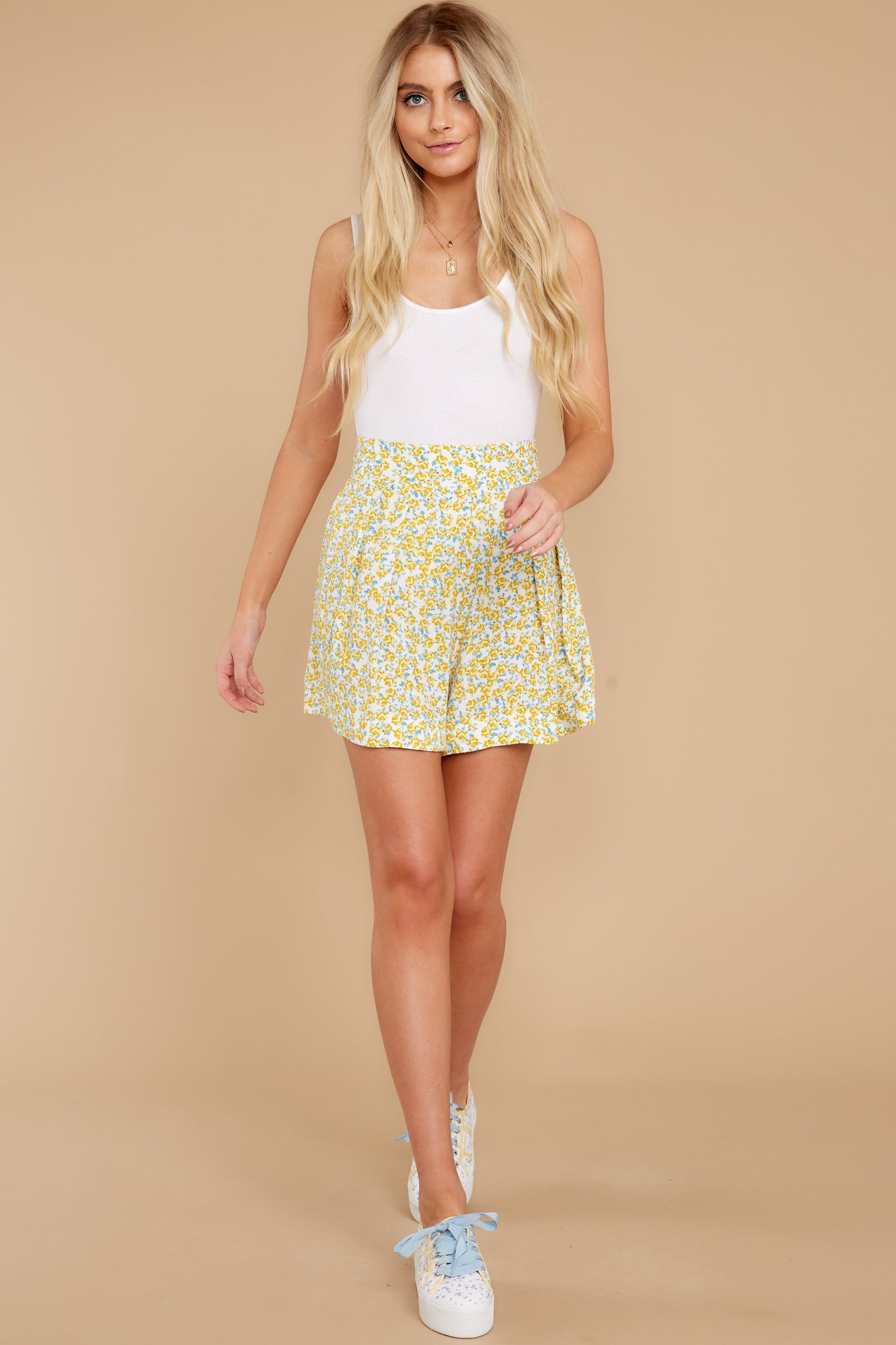 4 My Flawless Yellow Floral Print Skirt at reddress.com