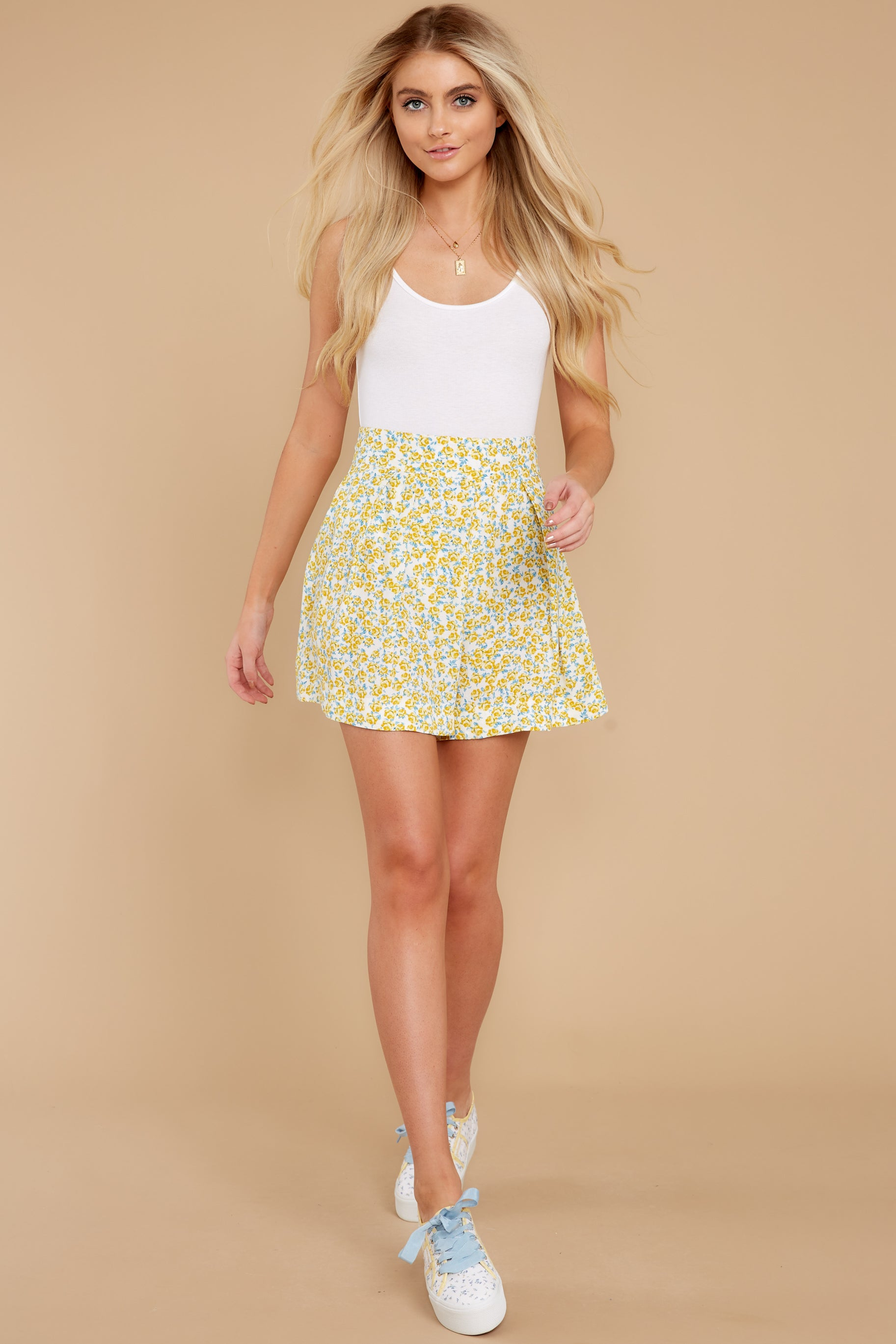 6 My Flawless Yellow Floral Print Skirt at reddress.com