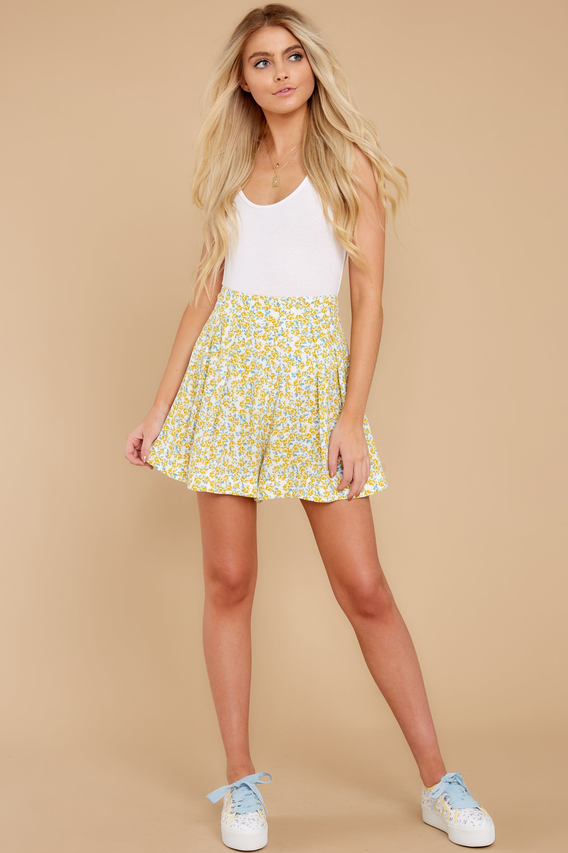 5 My Flawless Yellow Floral Print Skirt at reddress.com