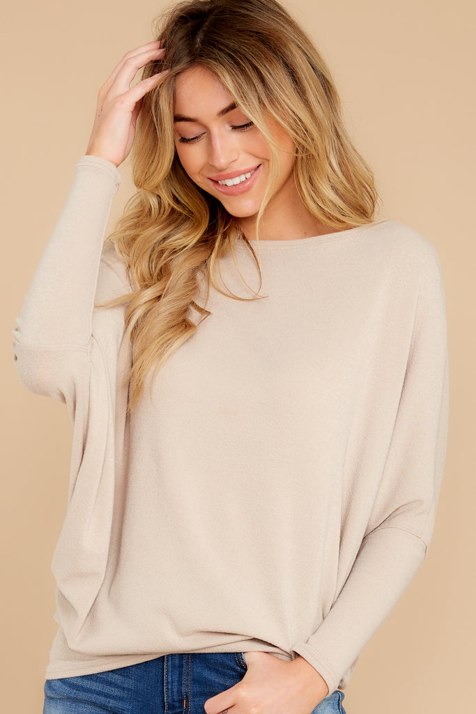 1 Wind Down Taupe Sweater at reddressboutique.com