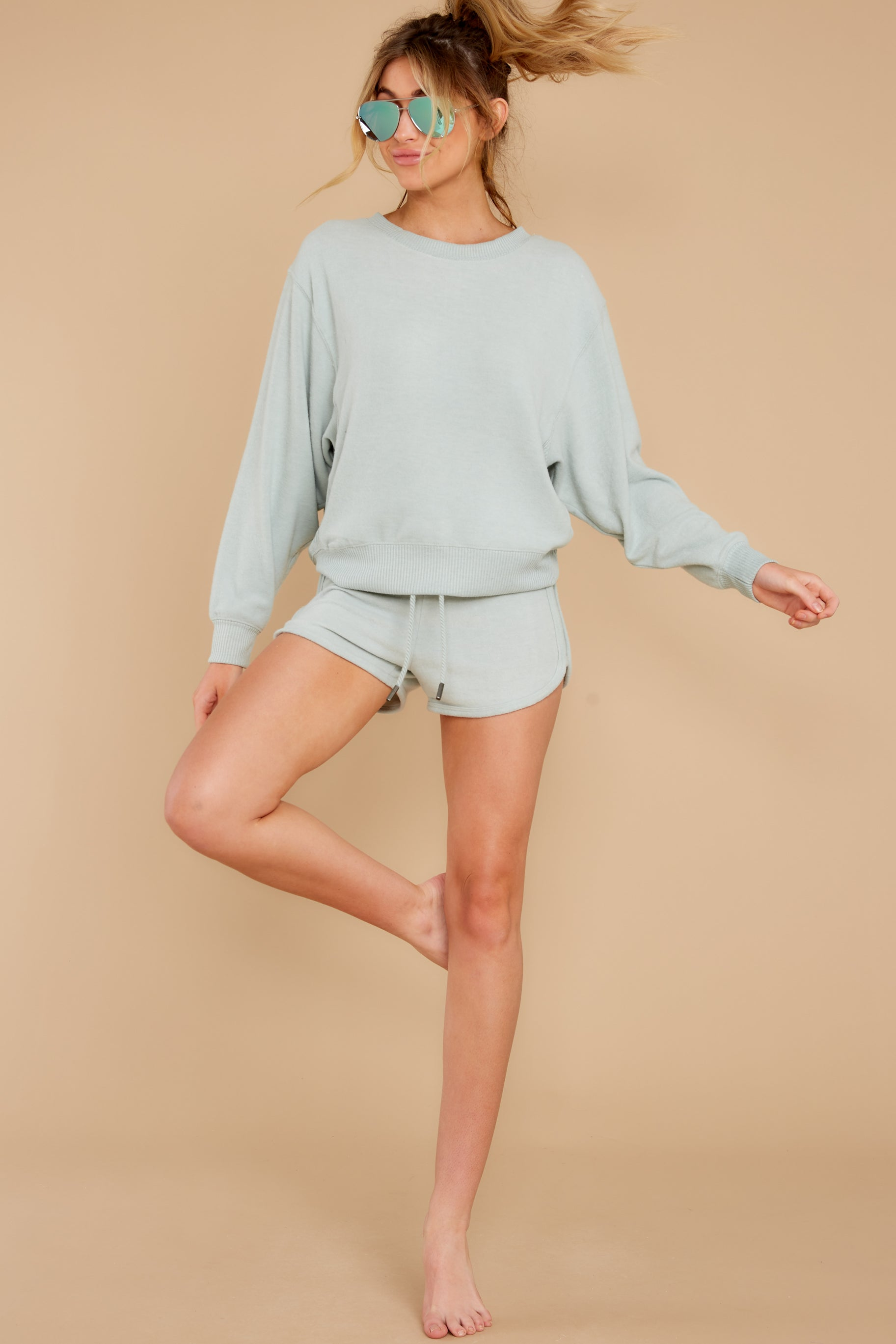 4 Blissful Breeze Washed Sage Sweatshirt at reddress.com