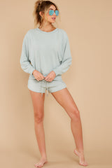 5 Blissful Breeze Washed Sage Sweatshirt at reddress.com