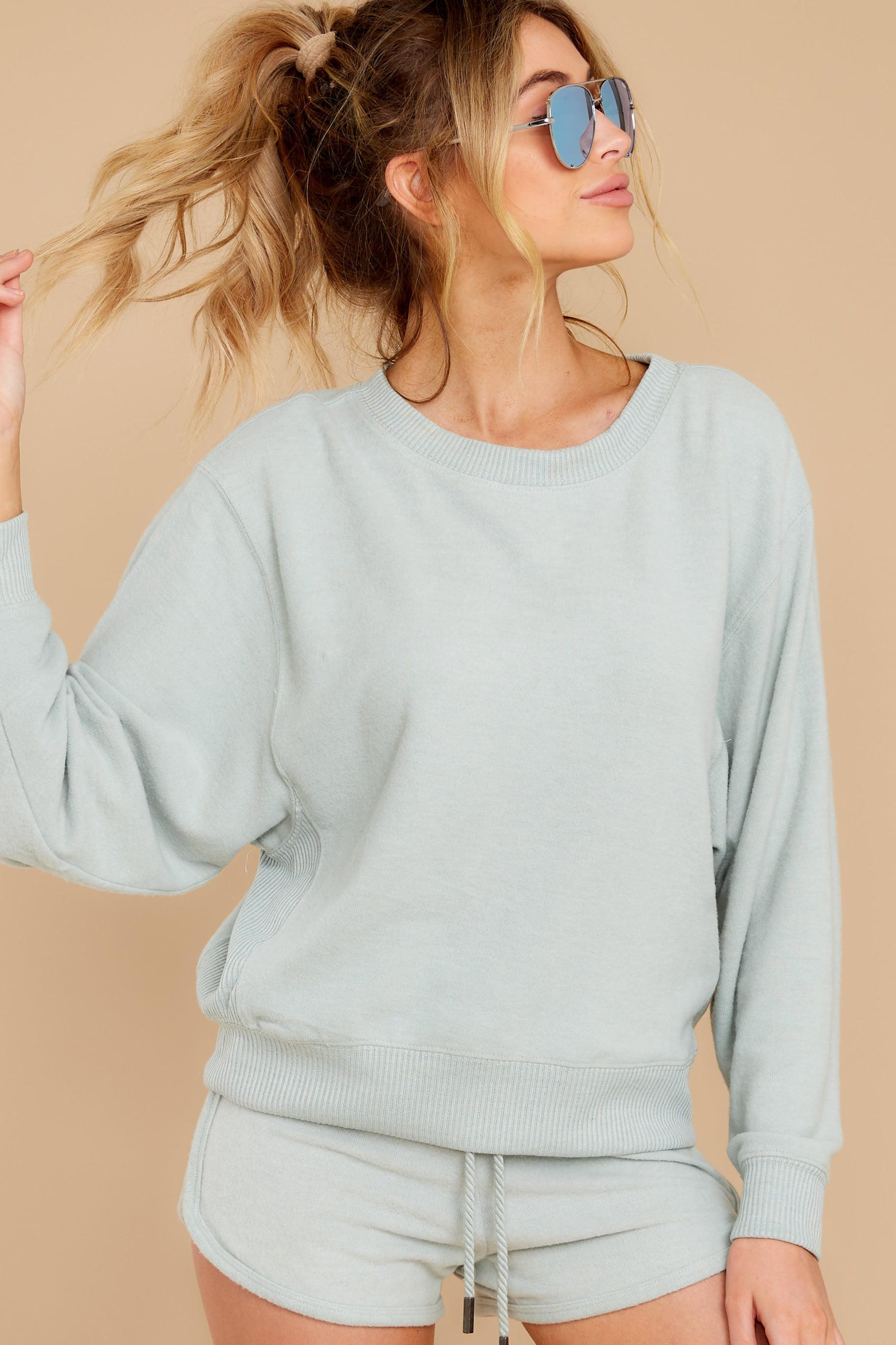 2 Blissful Breeze Washed Sage Sweatshirt at reddress.com