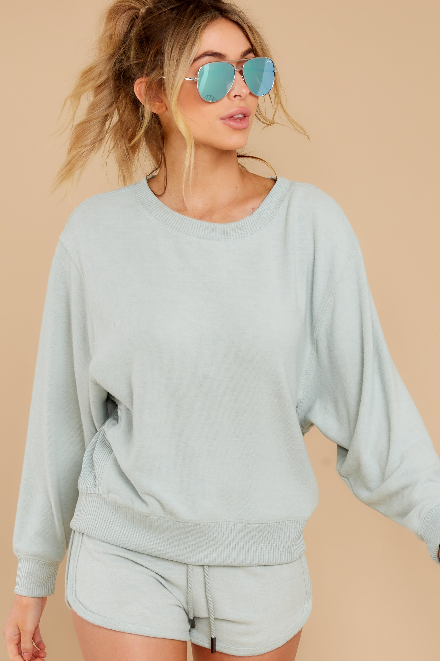 3 Blissful Breeze Washed Sage Sweatshirt at reddress.com