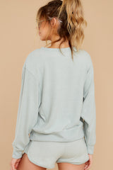 6 Blissful Breeze Washed Sage Sweatshirt at reddress.com