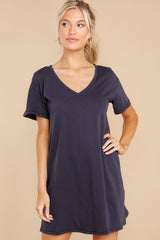 7 Birdie Washed Black Organic Mini Dress at reddress.com