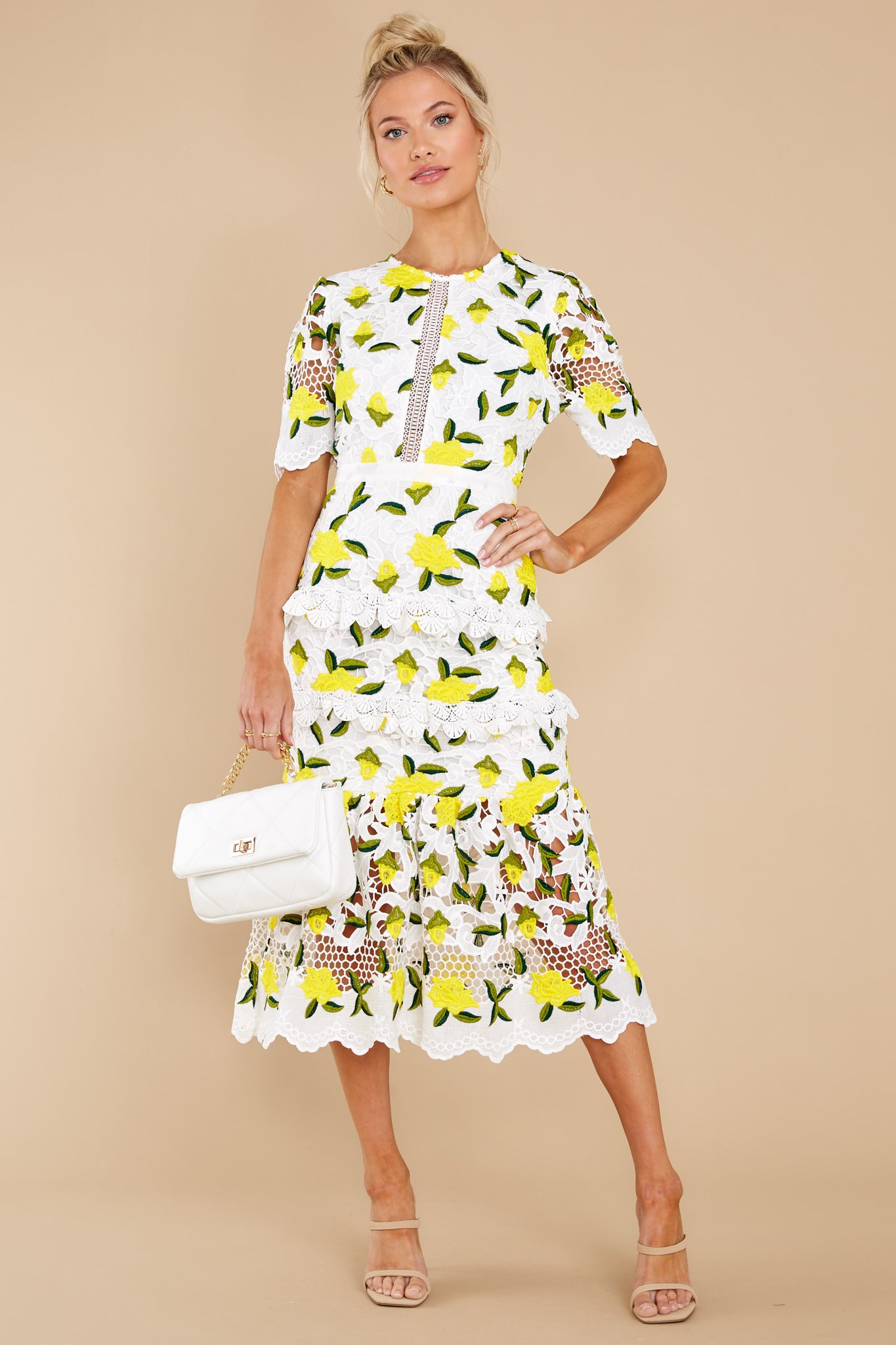 3 All I Wanted Yellow Floral Lace Midi Dress at reddress.com