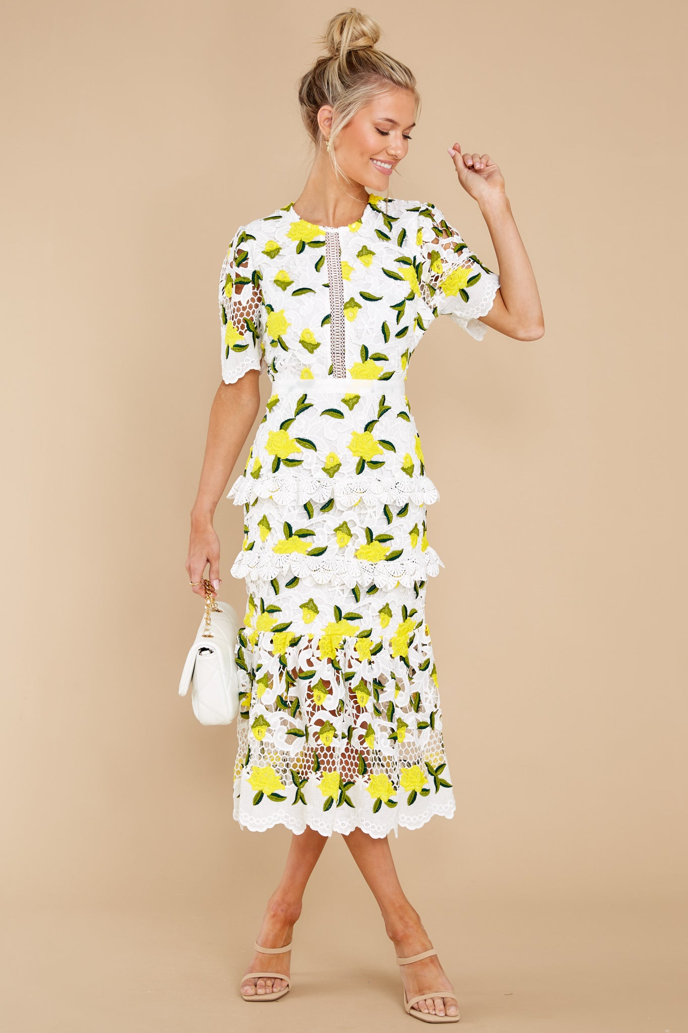 4 All I Wanted Yellow Floral Lace Midi Dress at reddress.com