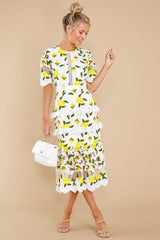 1 All I Wanted Yellow Floral Lace Midi Dress at reddress.com
